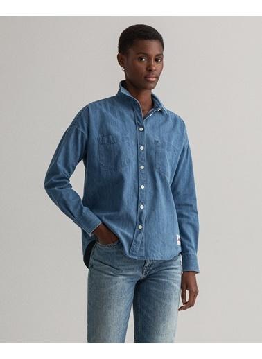 Gant Kadın Denim Gömlek Mavi